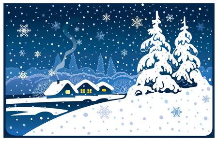 sapin: Paysage d'hiver et de sapins.