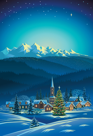 Winter rural holiday landscape. Christmas tree. Vectores