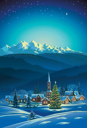 Winter rural holiday landscape. Christmas tree. Illustration