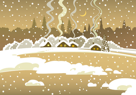 country landscape: Winter country landscape Illustration