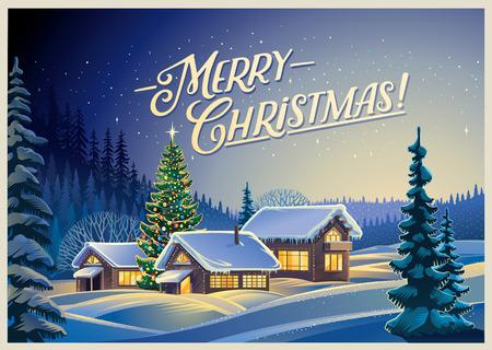 Winter bos landschap met huizen en de kerstboom. Stock Illustratie
