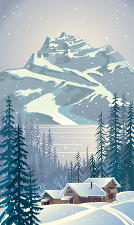Winter forest landscape with trees. Illustration