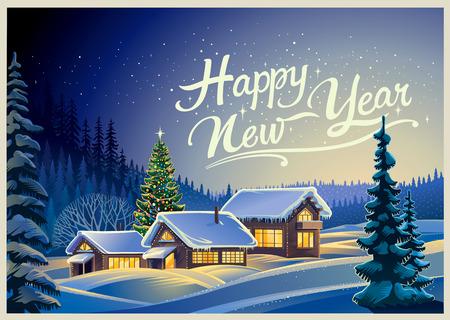 casale: Paesaggio invernale foresta con case e l'albero di Natale. Vettoriali