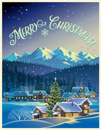 Paisaje de invierno con la aldea y el árbol de Navidad. Foto de archivo - 49590008