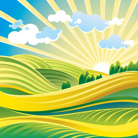 Paysage solaire d'été avec des collines et des nuages. Banque d'images - 49858693