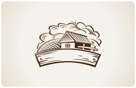 casale: Grafica paesaggio rurale con casa.