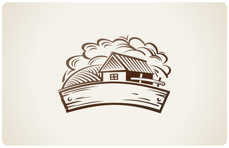 Graphical rural landscape with house. Illustration