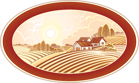 field of flowers: Rural landscape with houses. Monochrome. Illustration