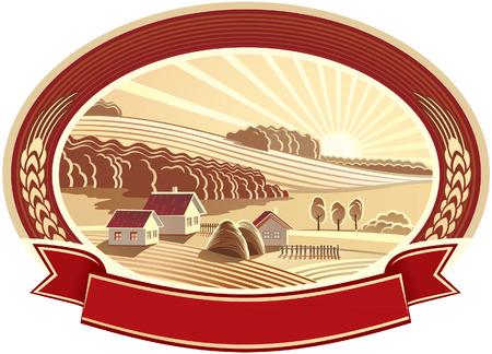 granja: Paisaje rural con las casas. Monocromo.