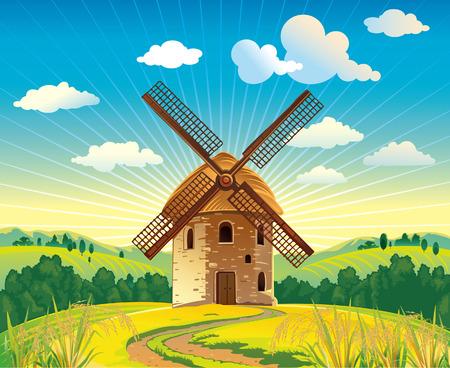 Paysage d'été avec un moulin à vent Vecteurs