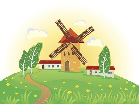 rural landscape: Sunny rural landscape with windmills