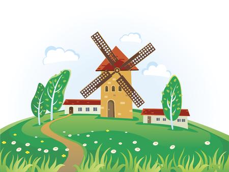 molinos de viento: Pa�s paisaje con molinos de viento.