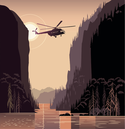 larch: Taiga mountain landscape with helicopter. Illustration