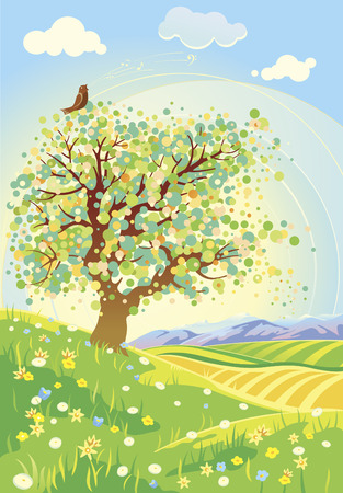 spring landscape: Spring nature landscape Illustration