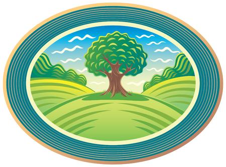 ovalo: paisaje de verano con un árbol verde en el centro Vectores