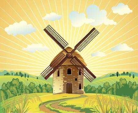 Zomer landschap met een windmolen. Stock Illustratie