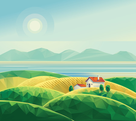 polygons: Landscape with hut. Polygon illustration vector.