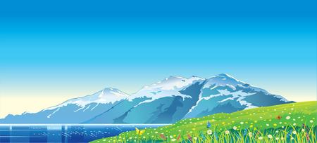 Verano paisaje de montaña con el lago de montaña. Ilustración de vector