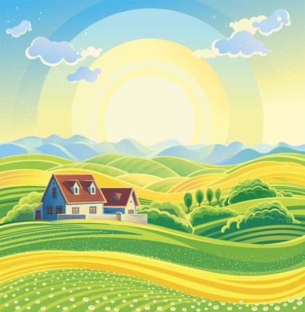 Sunny summer landscape with village.