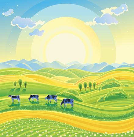 Latem słoneczny krajobraz i stado krów na łące. ilustracji wektorowych.