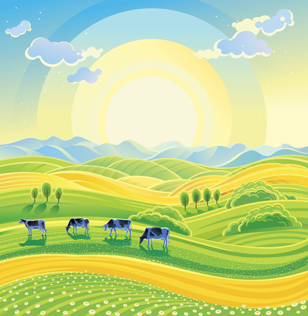 Sunny summer landscape and herd of cows on the meadow. Vector illustration.