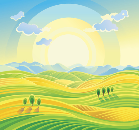 Sunny rural landscape with rolling hills and fields.