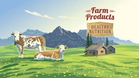 Mountain landscape with two cows and village in background. Vector illustration. Stock Illustratie
