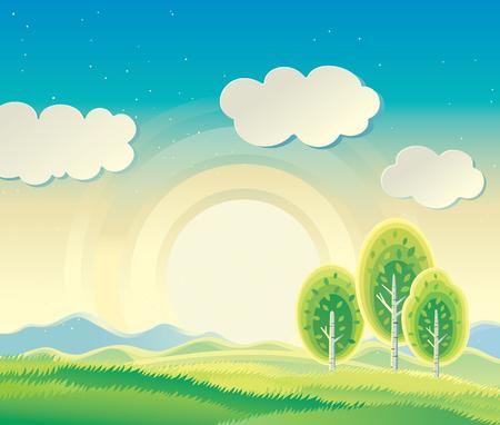 Soleggiato paesaggio rurale con tre alberi. Vettoriali
