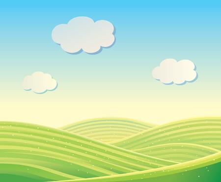 ベクトル フィールドと丘の風景。背景として使用することができます。  イラスト・ベクター素材