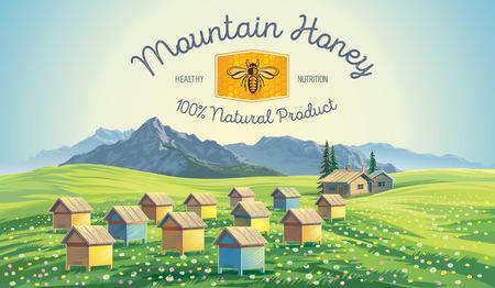 Bee bijenstal in de bergen landschap. Stock Illustratie