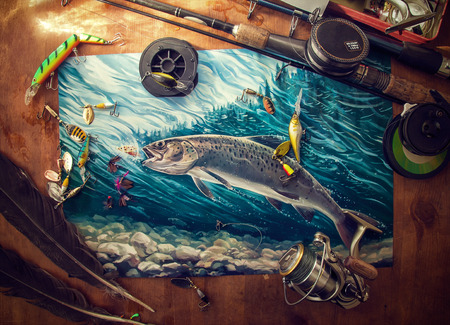 salmon fishing: Illustration about fishing, surrounded by fishing accessories. Stock Photo