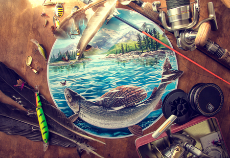 Illustration about fishing, surrounded by fishing accessories. Stock Photo
