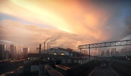 Fondo del paisaje urbano, puesta del paisaje de la ciudad con el cielo del atardecer.