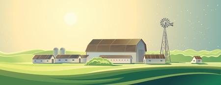 nature vector: Summer rural farm landscape. Ranch.