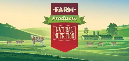 Landwirtschaftliche Landschaft mit Kühen und Schriftzug Design-Elemente. Vektorgrafik