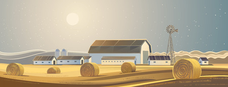 hay bales: The ranch. Rural landscape with bales of hay. Illustration