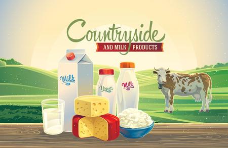 Paesaggio rurale con una mucca, e set di prodotti lattiero-caseari.
