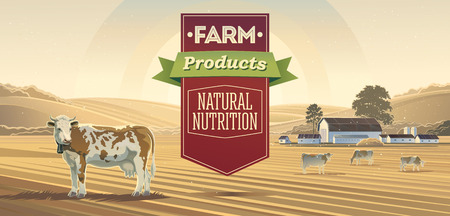 food industry: Rural landscape with cows and lettering design elements.