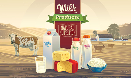 dairy product: Rural landscape with a cow, and set of milk products, with the words: Milk product, natural nutrition.