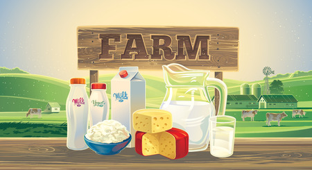milk products: Rural landscape with and cows, and set of milk products.