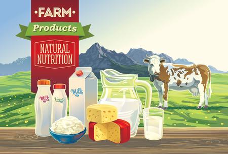 dairy: Conjunto de productos lácteos, con una vaca, y el paisaje de montaña.