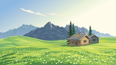 Illustrazione vettoriale di riserva. Paesaggio montano alpino con case.