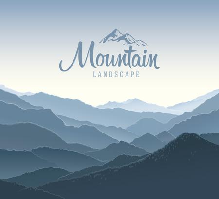 경치: 산 파노라마 풍경.
