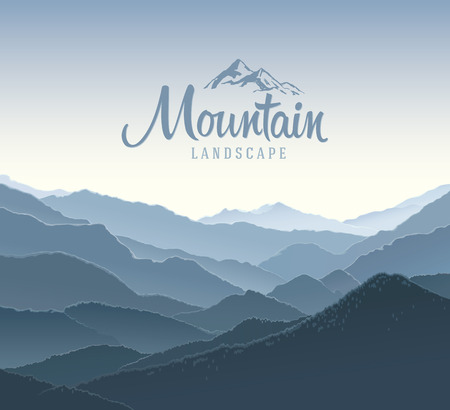panoramic landscape: Mountain panoramic landscape. Illustration