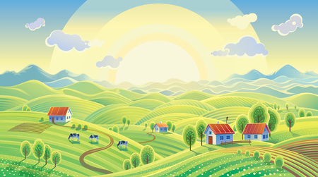 Summer rural landscape with village. Vectores