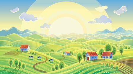 Summer rural landscape with village. Stock Illustratie
