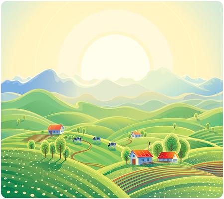 morning sky: Summer rural landscape with village. Illustration