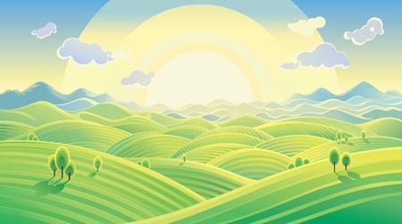 Soleggiato paesaggio collinare. Raster illustrazione può essere utilizzato come sfondo. Raster illustrazione. Vettoriali