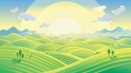 hilly: Sunny hilly landscape. Raster illustration can be used as background. Raster illustration.