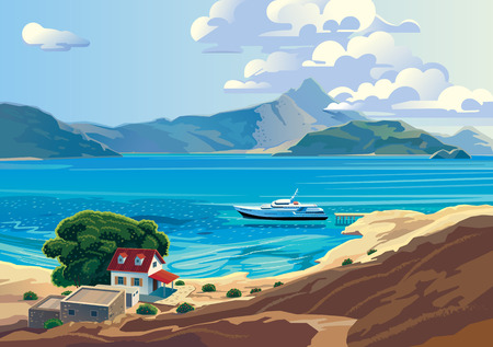 mediterranean home: Seascape with yacht and countryside home. Presumably the Mediterranean.